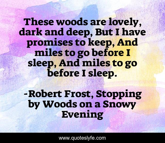 These woods are lovely, dark and deep, But I have promises to keep, And miles to go before I sleep, And miles to go before I sleep.