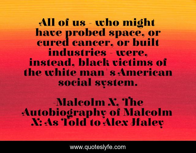 All of us - who might have probed space, or cured cancer, or built industries - were, instead, black victims of the white man's American social system.
