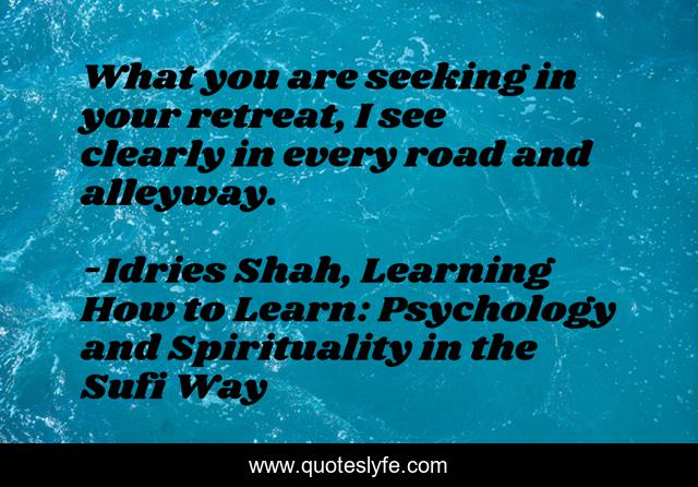 What you are seeking in your retreat, I see clearly in every road and alleyway.