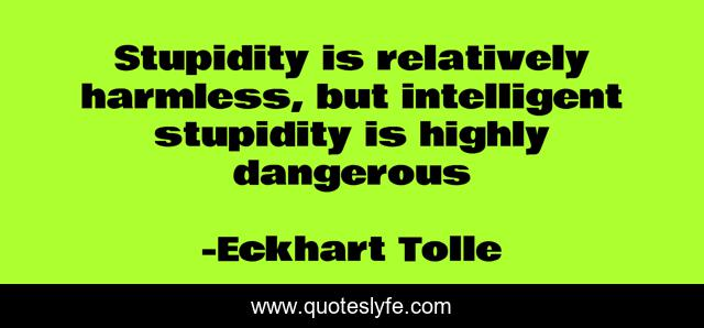 Stupidity is relatively harmless, but intelligent stupidity is highly dangerous