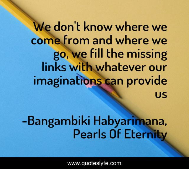 We don't know where we come from and where we go, we fill the missing links with whatever our imaginations can provide us