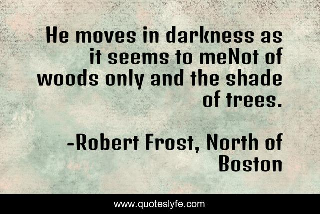 He moves in darkness as it seems to meNot of woods only and the shade of trees.