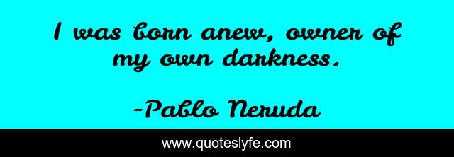 I was born anew, owner of my own darkness.