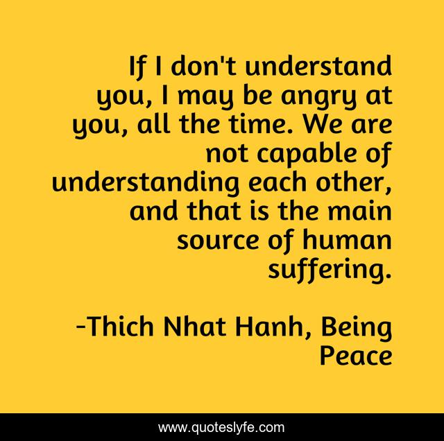If I don't understand you, I may be angry at you, all the time. We are not capable of understanding each other, and that is the main source of human suffering.