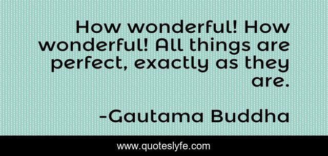 How wonderful! How wonderful! All things are perfect, exactly as they are.