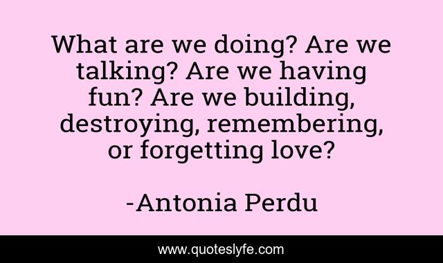 What are we doing? Are we talking? Are we having fun? Are we building, destroying, remembering, or forgetting love?