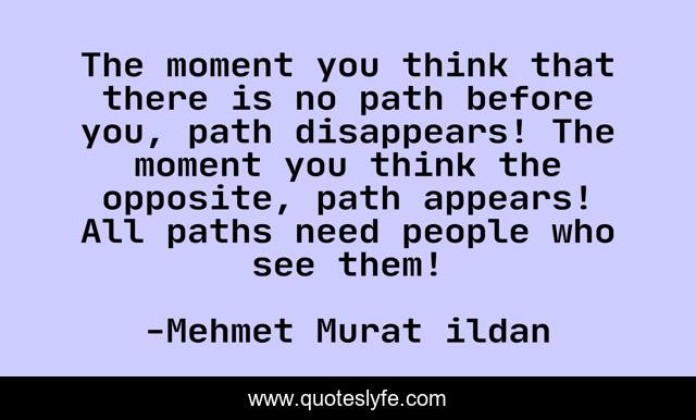 The moment you think that there is no path before you, path disappears! The moment you think the opposite, path appears! All paths need people who see them!