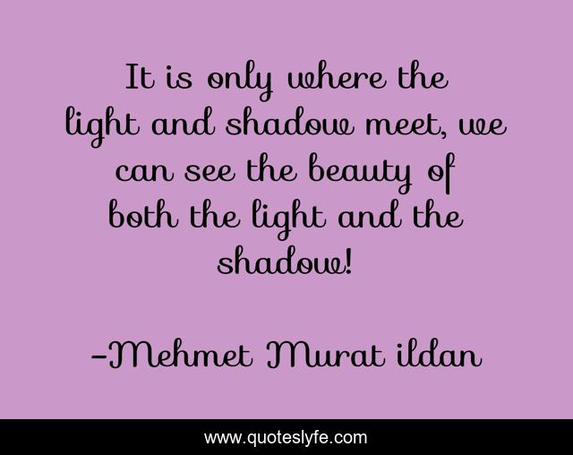 It is only where the light and shadow meet, we can see the beauty of both the light and the shadow!