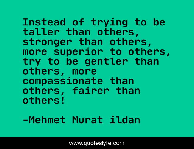Instead of trying to be taller than others, stronger than others, more superior to others, try to be gentler than others, more compassionate than others, fairer than others!