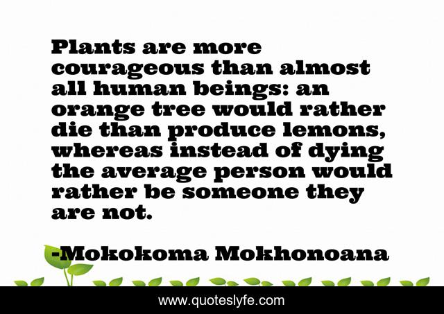 Plants are more courageous than almost all human beings: an orange tree would rather die than produce lemons, whereas instead of dying the average person would rather be someone they are not.