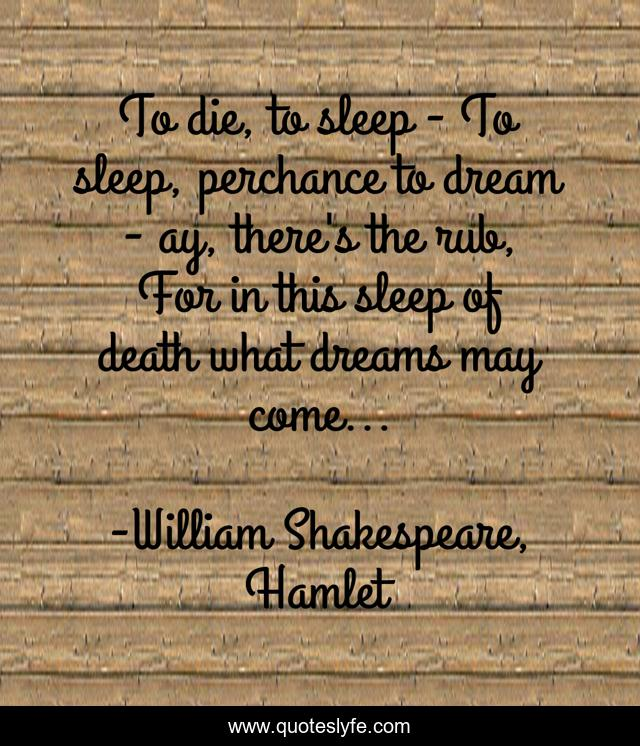 To die, to sleep - To sleep, perchance to dream - ay, there's the rub, For in this sleep of death what dreams may come...