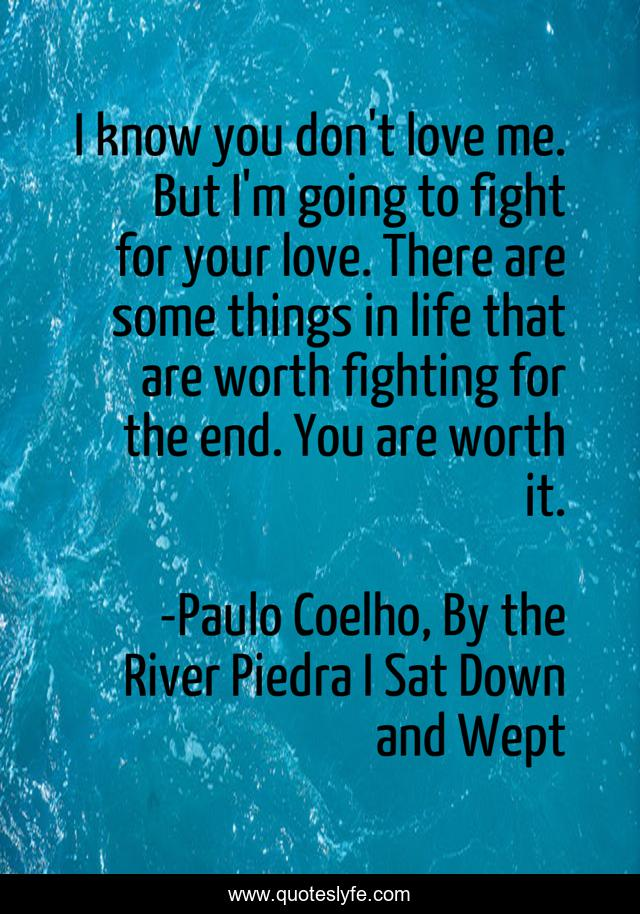 I know you don't love me. But I'm going to fight for your love. There are some things in life that are worth fighting for the end. You are worth it.