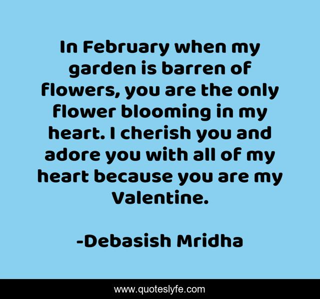 In February when my garden is barren of flowers, you are the only flower blooming in my heart. I cherish you and adore you with all of my heart because you are my Valentine.