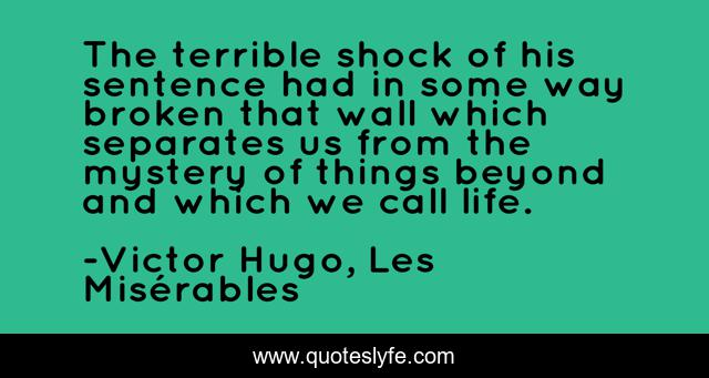 The terrible shock of his sentence had in some way broken that wall which separates us from the mystery of things beyond and which we call life.