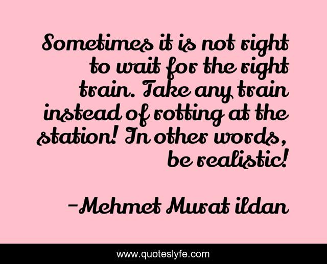 Sometimes it is not right to wait for the right train. Take any train instead of rotting at the station! In other words, be realistic!