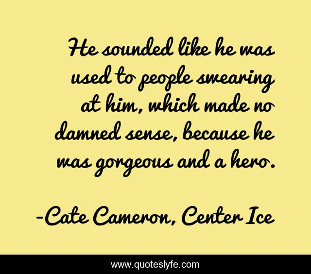 He sounded like he was used to people swearing at him, which made no damned sense, because he was gorgeous and a hero.