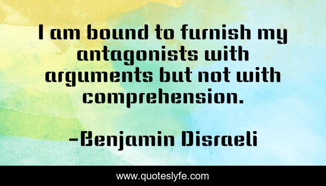 I am bound to furnish my antagonists with arguments but not with comprehension.