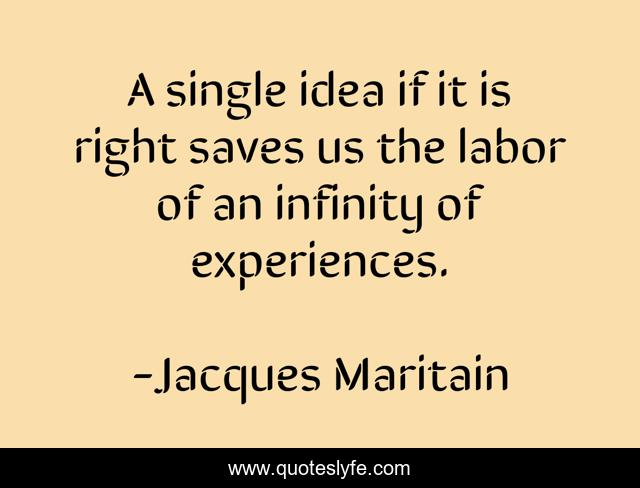 A single idea if it is right saves us the labor of an infinity of experiences.