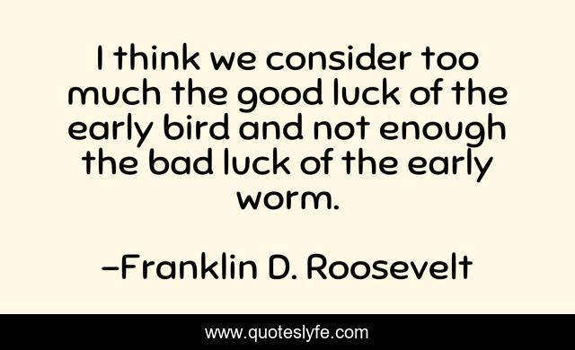 I think we consider too much the good luck of the early bird and not enough the bad luck of the early worm.