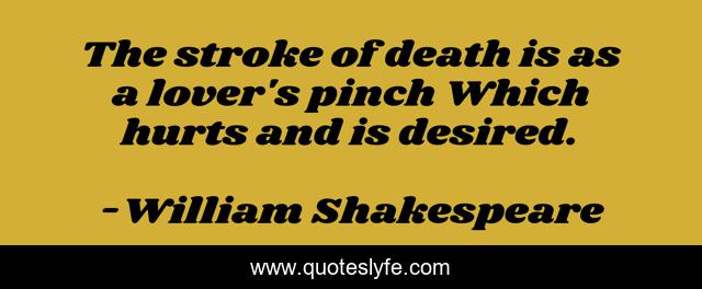 The stroke of death is as a lover's pinch Which hurts and is desired.