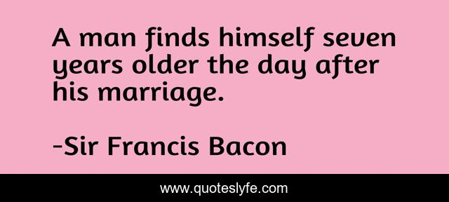 A man finds himself seven years older the day after his marriage.