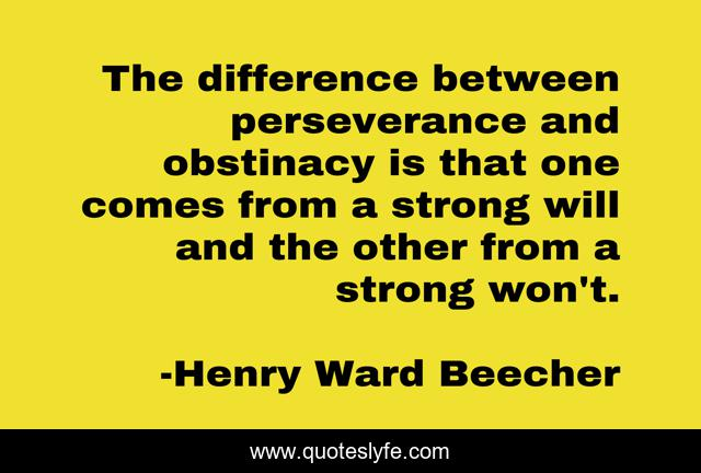 The difference between perseverance and obstinacy is that one comes from a strong will and the other from a strong won't.