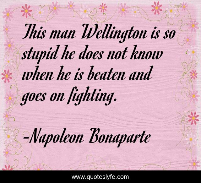 This man Wellington is so stupid he does not know when he is beaten and goes on fighting.