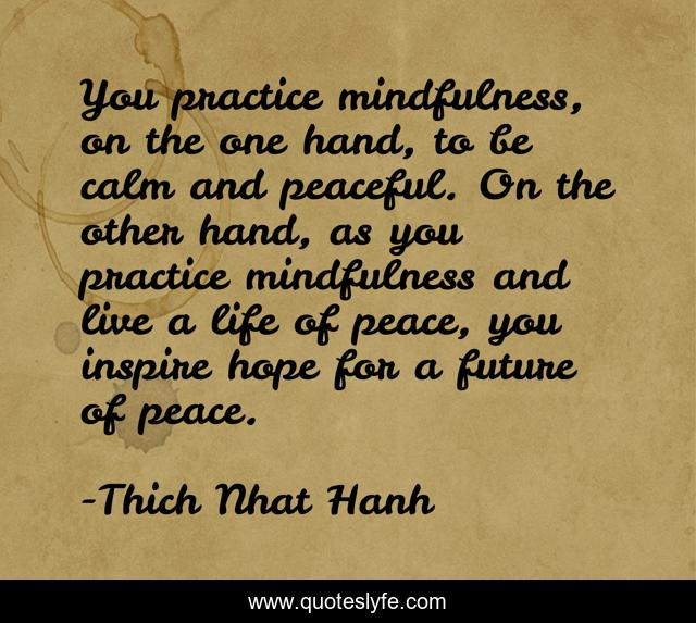 You practice mindfulness, on the one hand, to be calm and peaceful. On the other hand, as you practice mindfulness and live a life of peace, you inspire hope for a future of peace.