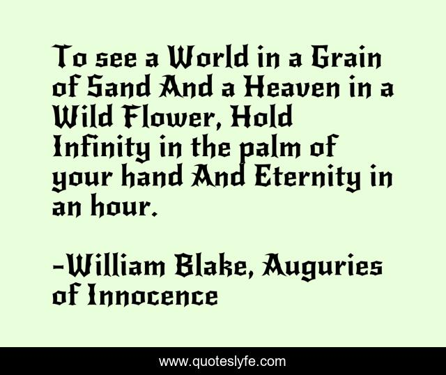 To see a World in a Grain of Sand And a Heaven in a Wild Flower, Hold Infinity in the palm of your hand And Eternity in an hour.