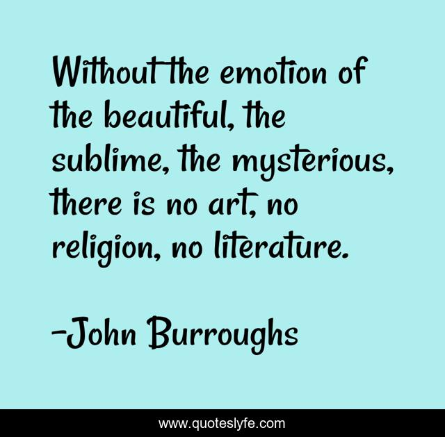 Without the emotion of the beautiful, the sublime, the mysterious, there is no art, no religion, no literature.