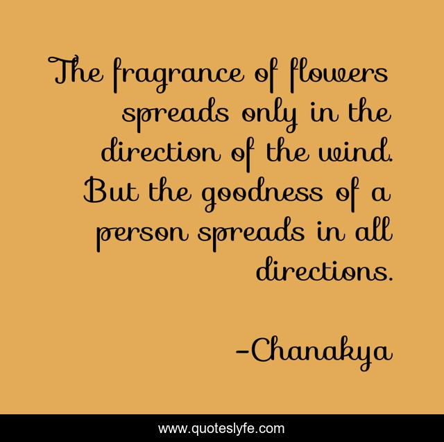 The fragrance of flowers spreads only in the direction of the wind. But the goodness of a person spreads in all directions.