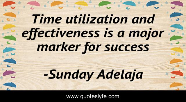 Time utilization and effectiveness is a major marker for success