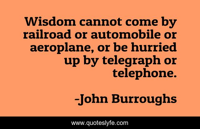 Wisdom cannot come by railroad or automobile or aeroplane, or be hurried up by telegraph or telephone.