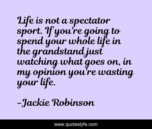 Life is not a spectator sport. If you're going to spend your whole life in the grandstand just watching what goes on, in my opinion you're wasting your life.