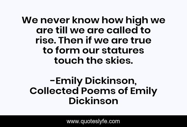 We never know how high we are till we are called to rise. Then if we are true to form our statures touch the skies.