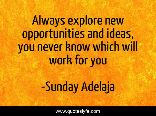 Always explore new opportunities and ideas, you never know which will work for you