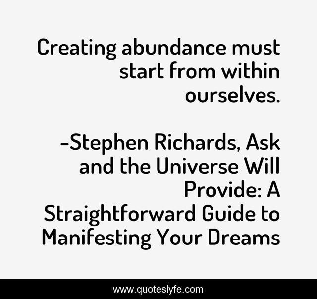 Creating abundance must start from within ourselves.