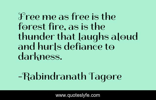 Free me as free is the forest fire, as is the thunder that laughs aloud and hurls defiance to darkness.