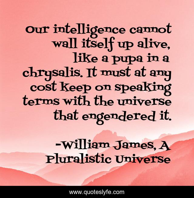 Our intelligence cannot wall itself up alive, like a pupa in a chrysalis. It must at any cost keep on speaking terms with the universe that engendered it.