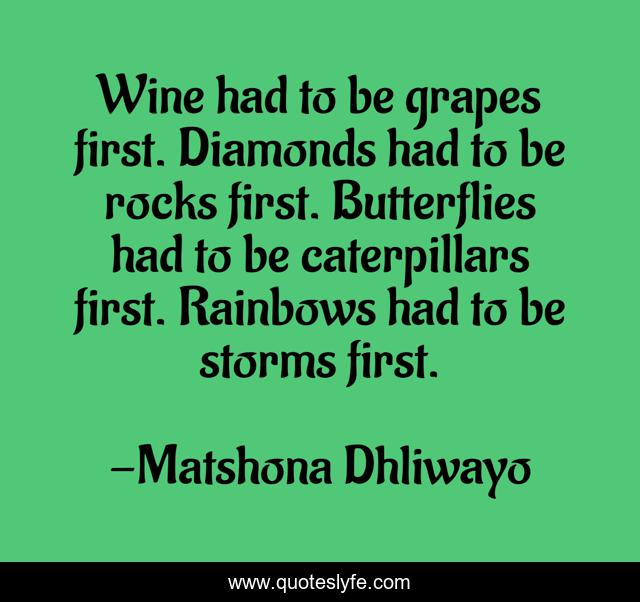 Wine had to be grapes first. Diamonds had to be rocks first. Butterflies had to be caterpillars first. Rainbows had to be storms first.