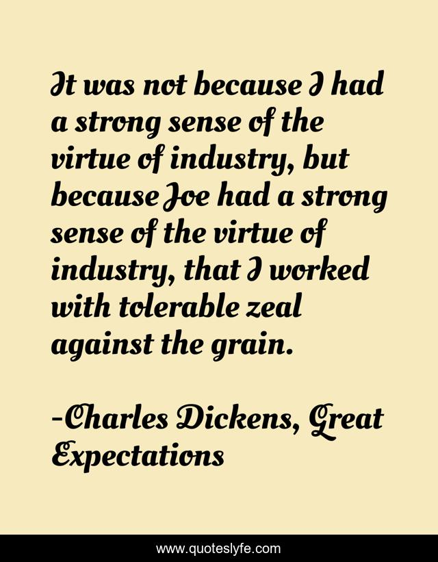 It was not because I had a strong sense of the virtue of industry, but because Joe had a strong sense of the virtue of industry, that I worked with tolerable zeal against the grain.