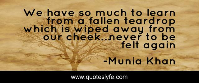 We have so much to learn from a fallen teardrop which is wiped away from our cheek…never to be felt again