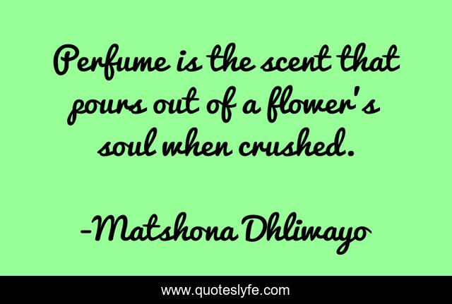 Perfume is the scent that pours out of a flower's soul when crushed.