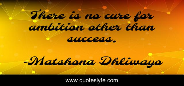 There is no cure for ambition other than success.