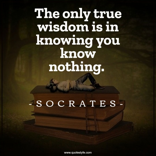 "Socrates Quotes: ""The only true wisdom is in knowing you know nothing."""