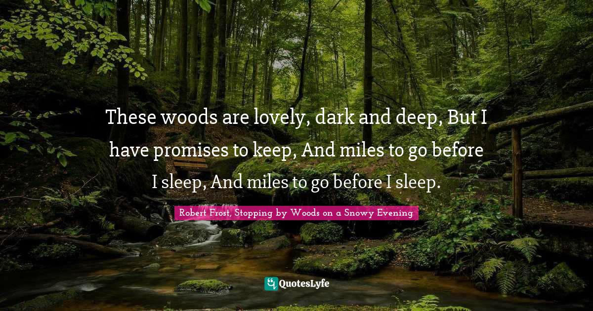 Robert Frost, Stopping by Woods on a Snowy Evening Quotes: These woods are lovely, dark and deep, But I have promises to keep, And miles to go before I sleep, And miles to go before I sleep.
