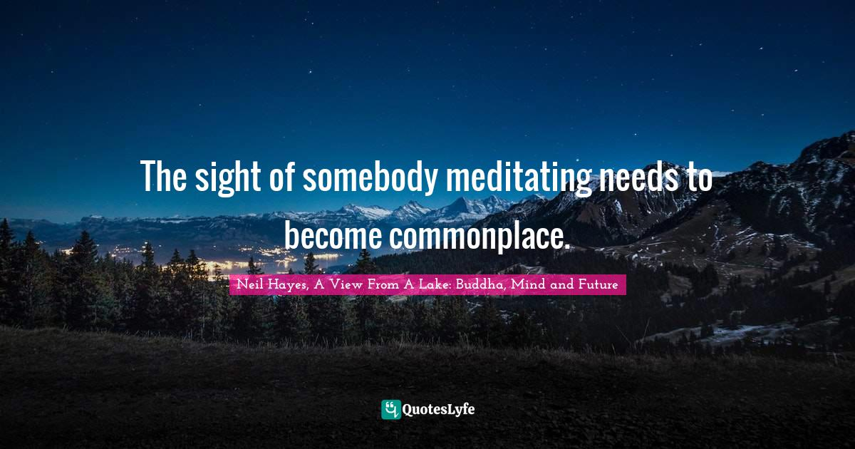 Neil Hayes, A View From A Lake: Buddha, Mind and Future Quotes: The sight of somebody meditating needs to become commonplace.