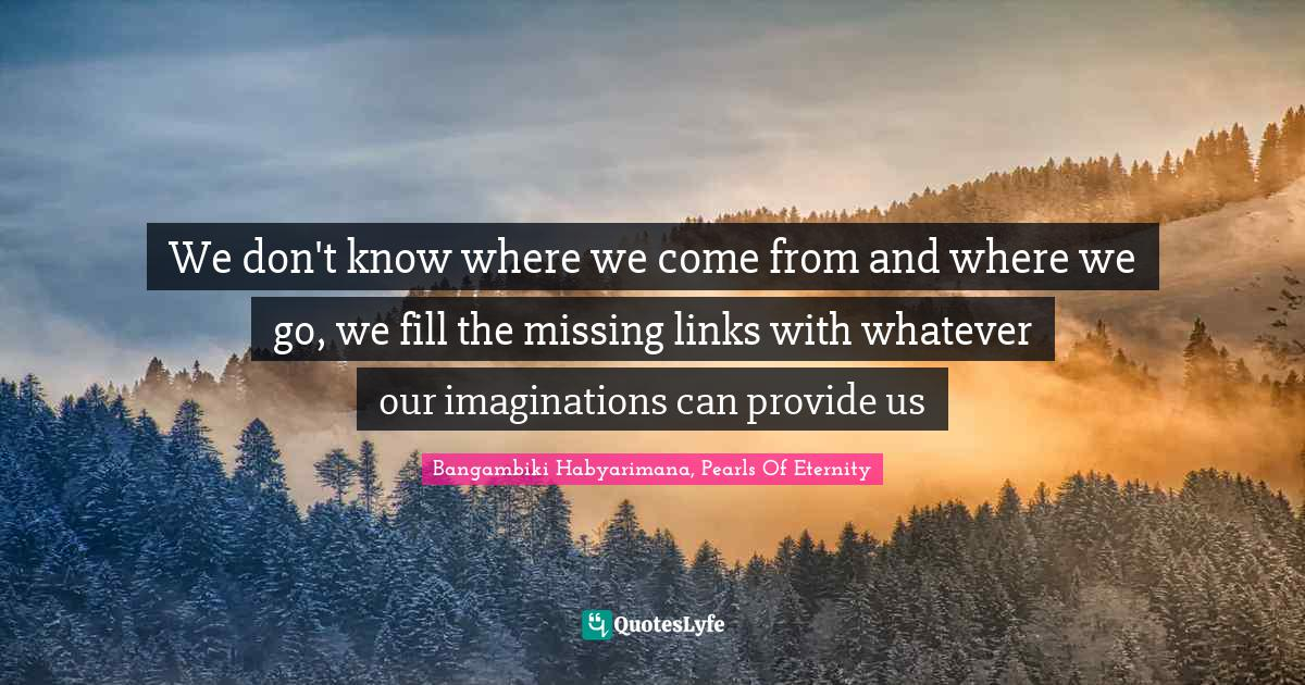 Bangambiki Habyarimana, Pearls Of Eternity Quotes: We don't know where we come from and where we go, we fill the missing links with whatever our imaginations can provide us