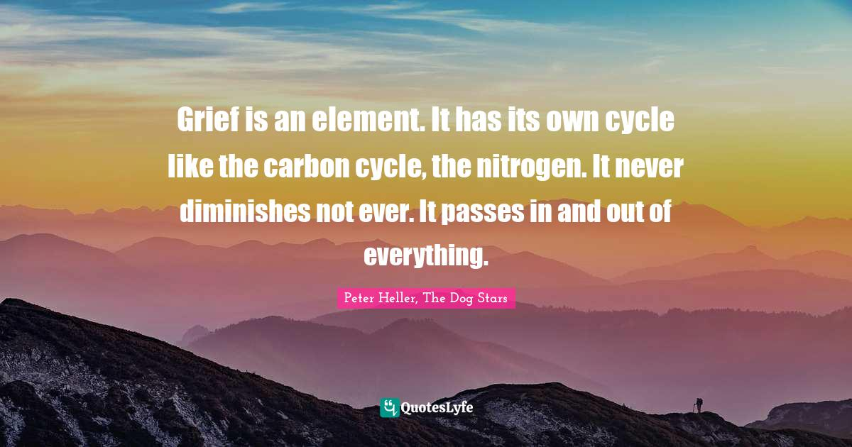 """Peter Heller, The Dog Stars Quotes: """"Grief is an element. It has its own cycle like the carbon cycle, the nitrogen. It never diminishes not ever. It passes in and out of everything."""""""