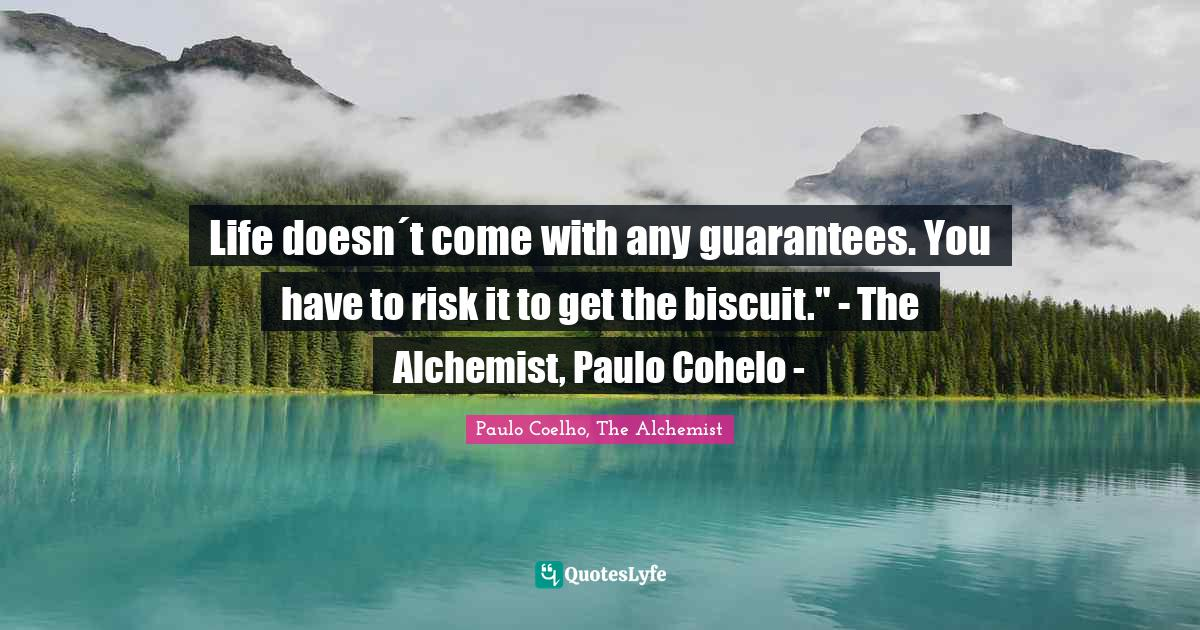 Paulo Coelho, The Alchemist Quotes: Life doesn´t come with any guarantees. You have to risk it to get the biscuit.